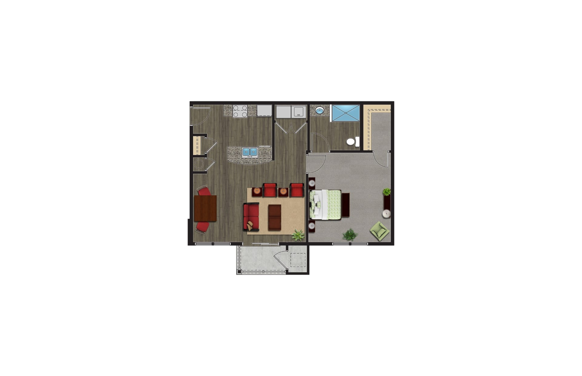 The Spruce Floor Plan, Luxury Apartments with Garages for rent. The 1 Bedroom Apartment in Orchard Park NY are pet friendly apartments.