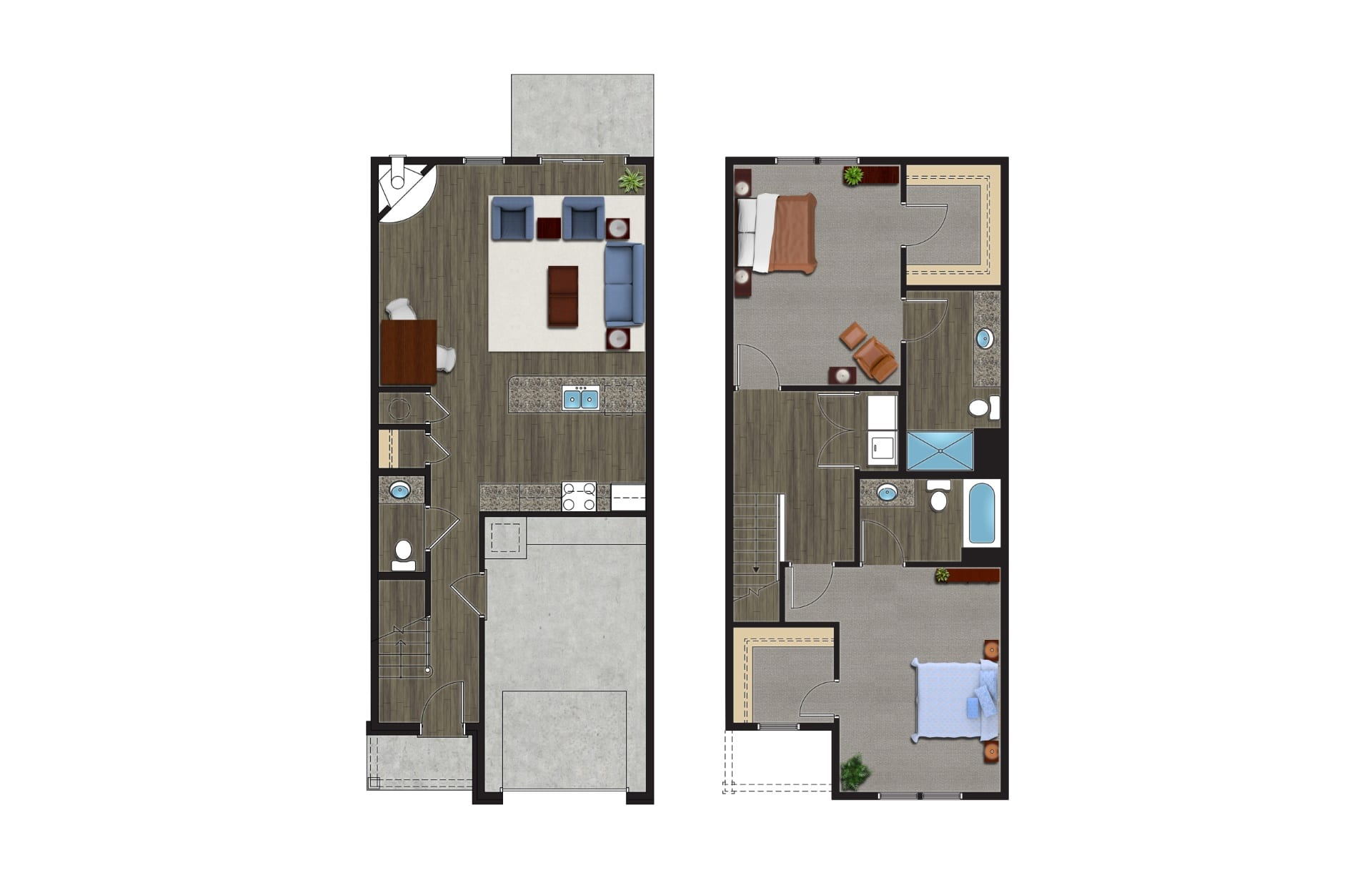 A Floor Plan of The Kodiak, Luxury Townhomes with Garages for rent. The 2 Story, 2 Bedroom Townhomes in Orchard Park NY are pet friendly townhomes.