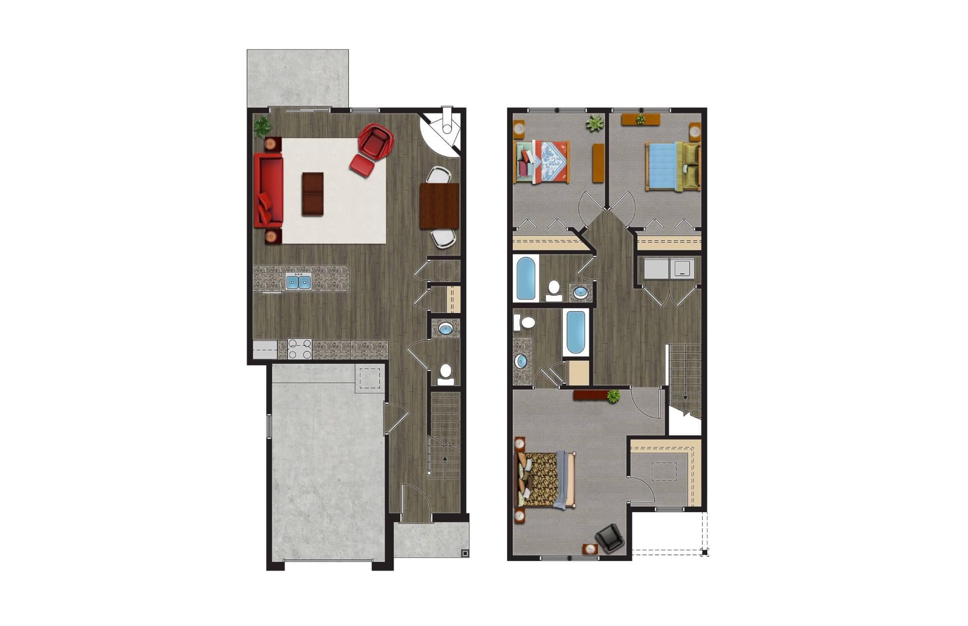 A Floor Plan of The Maple, Luxury Townhomes with Garages for rent. The 2 Story, 3 Bedroom Townhomes in Orchard Park NY are pet friendly townhomes.