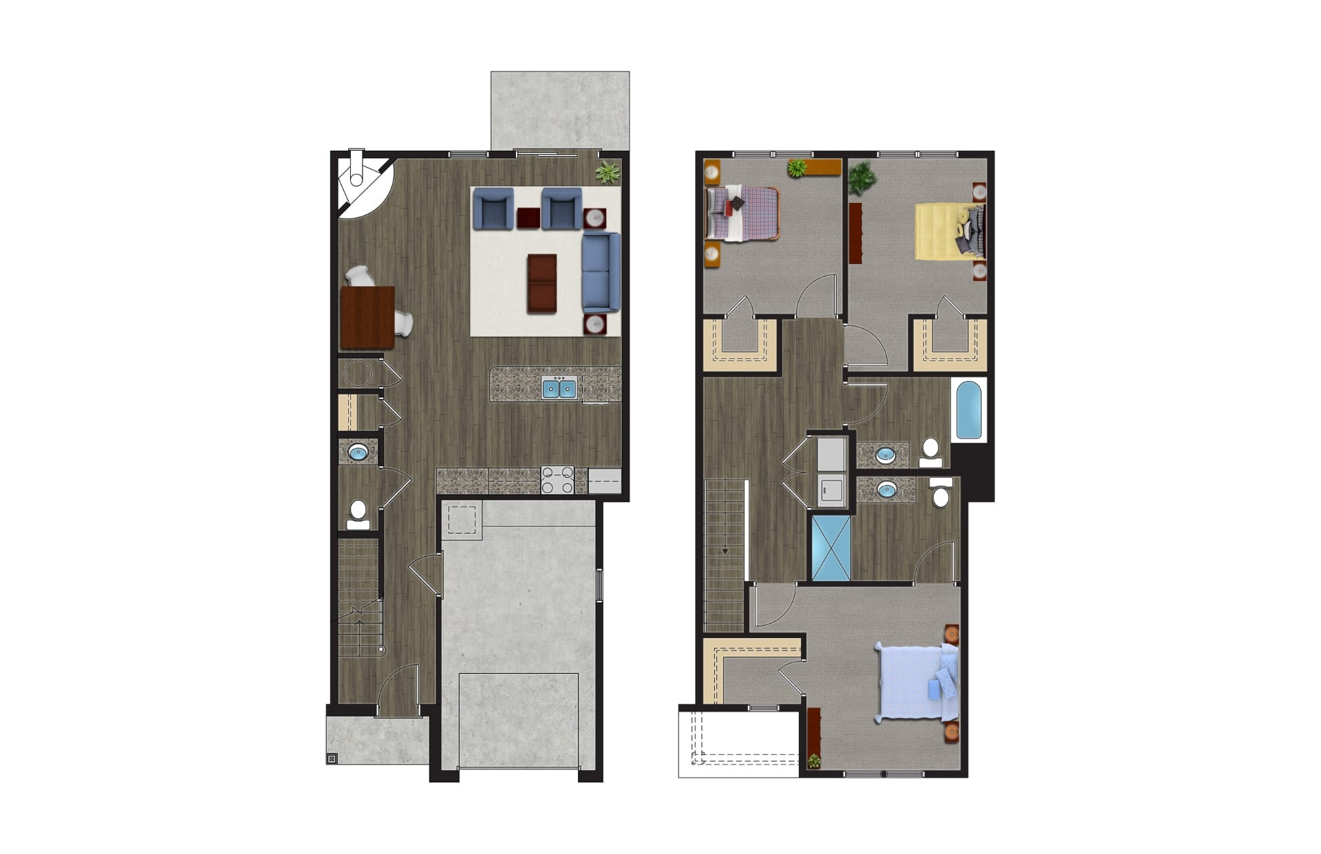 A Floor Plan of The Willow, Luxury Townhomes with Garages for rent. The 2 Story, 3 Bedroom Townhomes in Orchard Park NY are pet friendly townhomes.