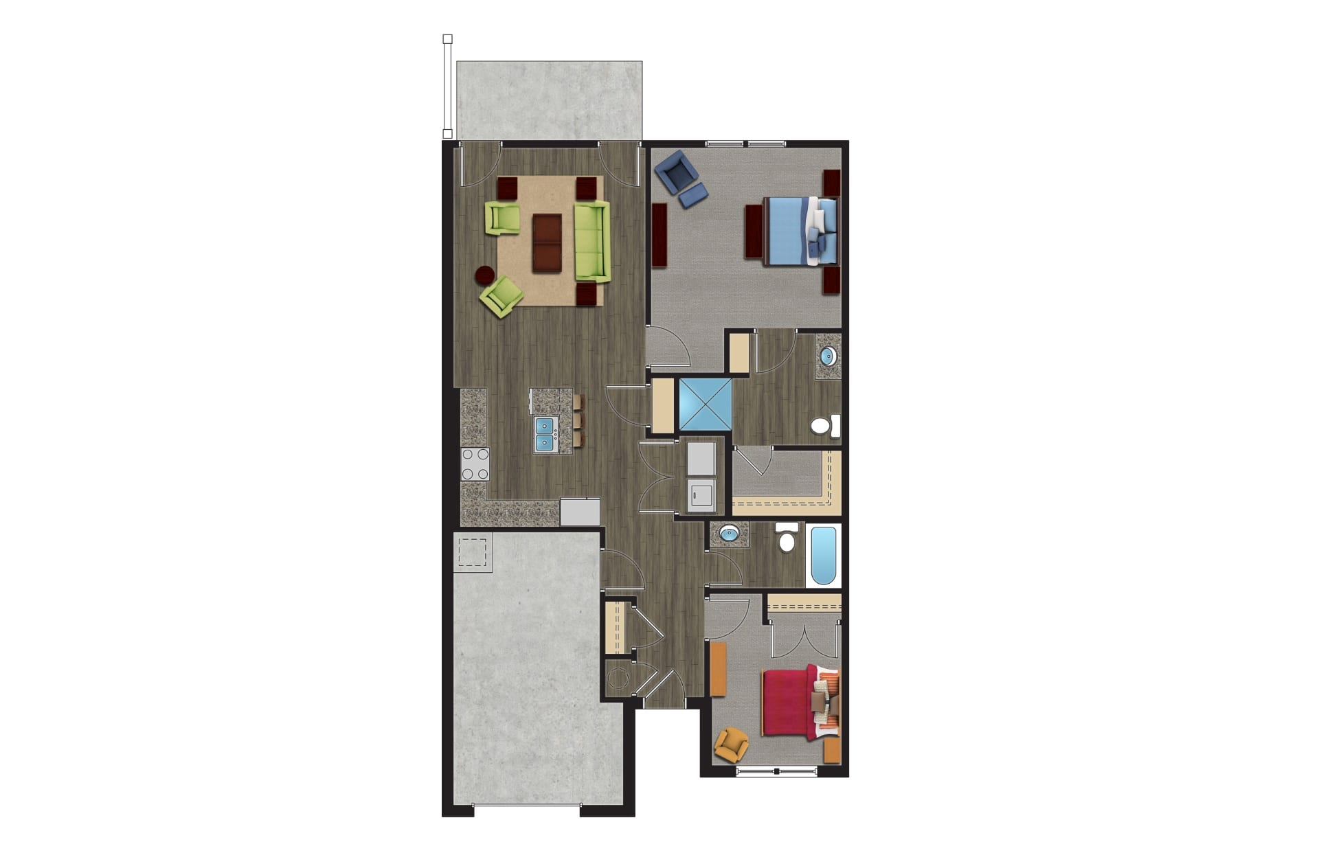 A Floor Plan of The Birch, a Luxury Townhomes with Garages for rent. The 1 Story, 2 Bedroom Townhomes in Orchard Park NY are pet friendly townhomes.